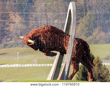 SPIELBERG, AUSTRIA - OCTOBER 25, 2014: The Red Bull display at Spielberg, Austria.
