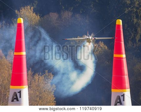 SPIELBERG, AUSTRIA - OCTOBER 25, 2014: Martin Sonka (Czech Republic) competes in the Red Bull Air Race.