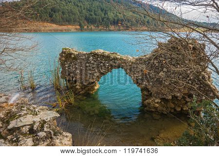 Old Ruins On The Lake Do?a On Peloponnese
