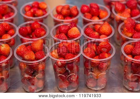 Strawberries In Clear Plastic Cups