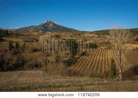 Autumn Landscape With Mountains And Clouds Near Stimfalia Lake, Peloponnese