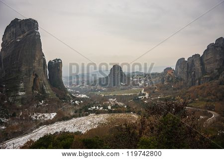 View Of The Mountains And Monasteries Of Meteora In Winter, Greece