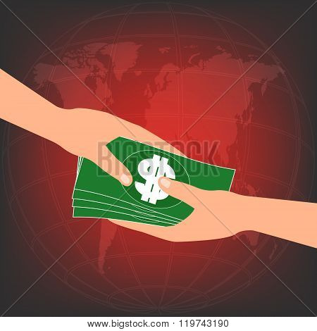 Hand Give Banknote Money Ake Bribe From Partner On Red World Map In Background. Vector Illustration