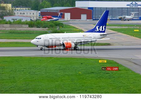 Sas Scandinavian Airlines Boeing 737-683 Aircraft  In Pulkovo International Airport In Saint-petersb
