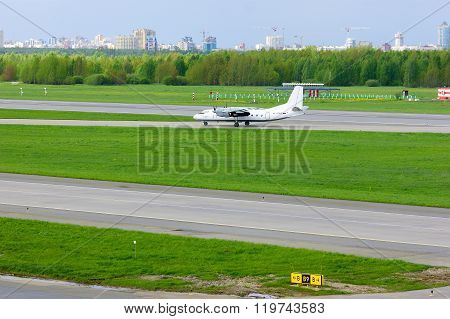 Pskov Avia Antonov An-24-rv Aircraft  In Pulkovo International Airport In Saint-petersburg, Russia
