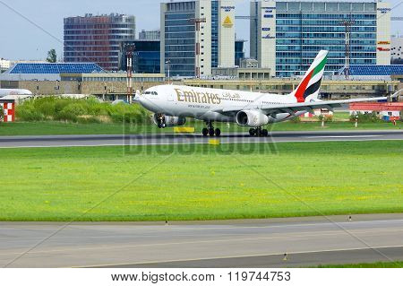 Emirates Airline  Airbus A330-243 Aircraft Is Landing In Pulkovo International Airport In Saint-pete