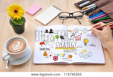 Business desktop and Strategy Concept.