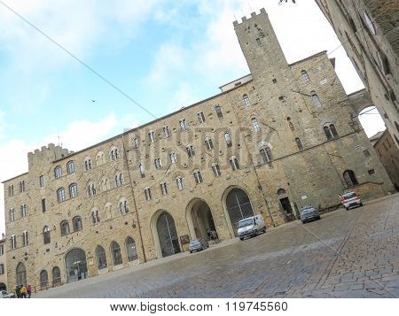 VOLTERRA, ITALY - CIRCA DECEMBER 2015: Volterra Italian medieval town - view of the city centre