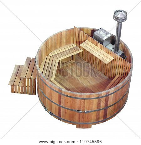 compact wooden sauna and steam bath with a stove