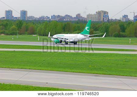 Turkmenistan Airlines Boeing 737-7Gl Aircraft In Pulkovo International Airport In Saint-petersburg,
