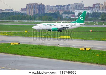 Turkmenistan Airlines Boeing 737-7Gl Aircraft In Pulkovo International Airport In Saint-petersburg
