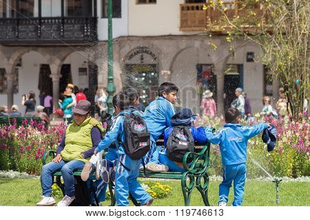 School Children Playing Outdoors In Cusco, Peru