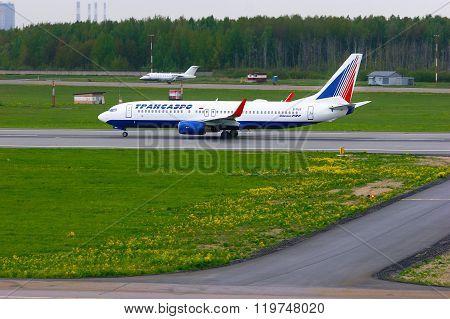 Transaero Airline Boeing 737-85P Aircraft  In Pulkovo International Airport In Saint-petersburg