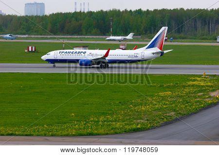 Transaero Airline Boeing 737-85P Aircraft  In Pulkovo International Airport In Saint-petersburg, Rus