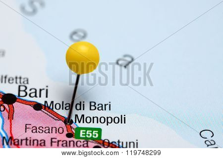 Monopoli pinned on a map of Italy