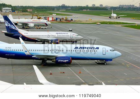 Aircrafts At The Parking In Pulkovo International Airport In Saint-petersburg, Russia