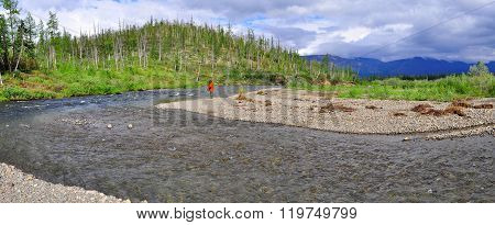 Panorama Of A Mountain River In Siberia.