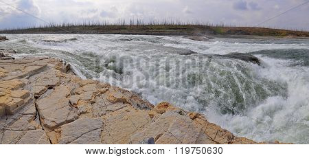Rocky Rapids On A Northern River.