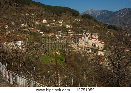 Sliding Village Ropoto And Church After A Landslide In Greece