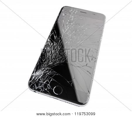 Damaged Iphone On White Background