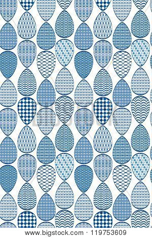 Seamless Pattern. Easter Eggs With Blue Patterns, Isolated On White Background.
