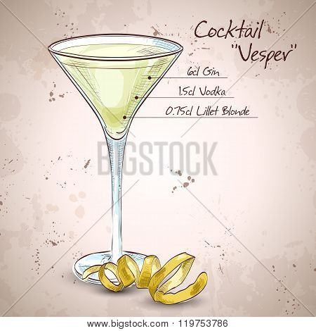 Cocktail Vesper mixed drink