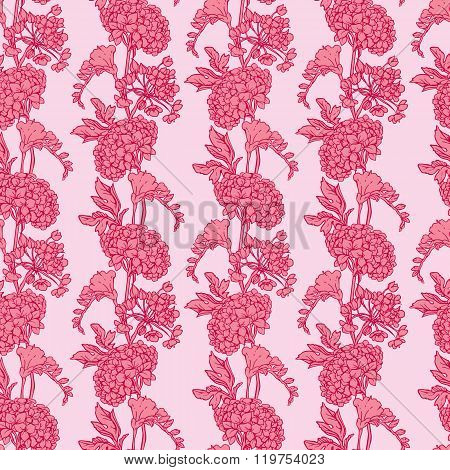 Seamless Pattern With Realistic Graphic Flowers - Gardenia - Hand Drawn Background In Pink Colors.