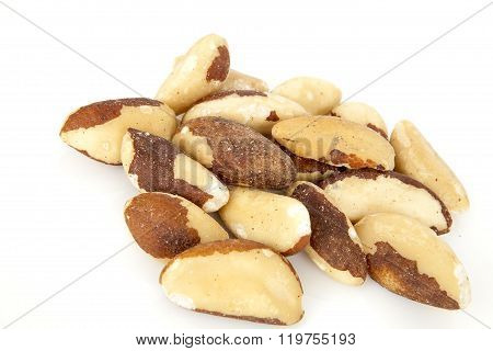 Brazil nut on a white background (Bertholletia excelsa), blanched close up isolated on the white bac