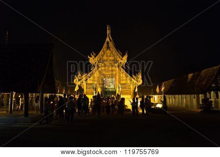 People Waiting To Participate In Triple Circumambulation Ceremony In Magha Puja Day