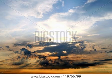 Beautiful cloud formation at sunset