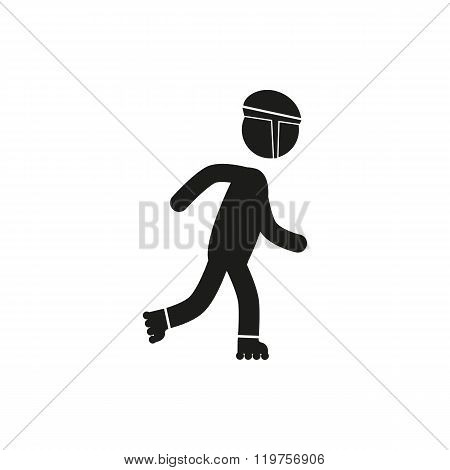 Roller skating silhouettes vector icon on white background stick figure