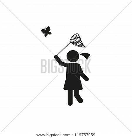 stick figure Black simple girl trying to catch the butterfly with net for butterflies on white