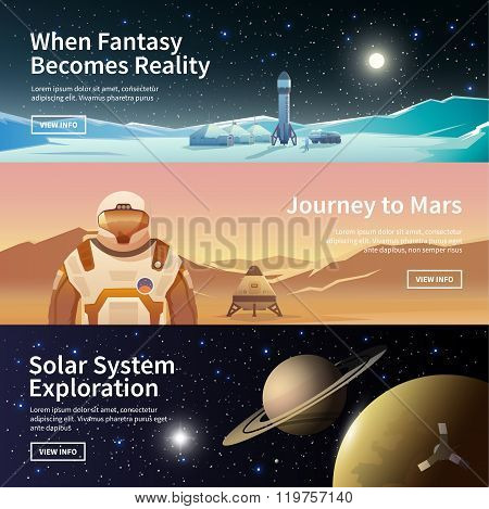 Web banners on the theme of astronomy