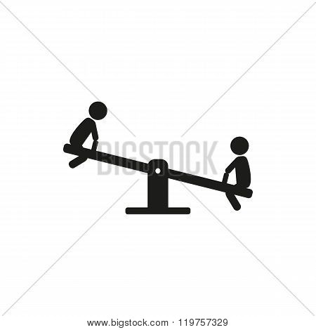 Kids children play on the seesaw playground.vector illustration on white stick figure