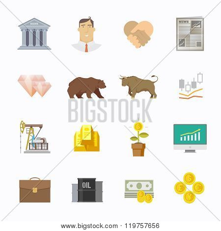 Stock exchange trading set of icons