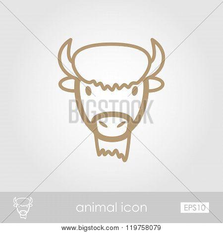 Bison Buffalo Ox Icon. Animal Head Vector Symbol