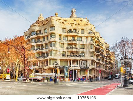 Barcelona, Spain - February 9 Architecture Detail Of Casa Mila, Better Known As La Pedrera, Designed