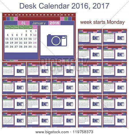 Desk Calendar 2016 2017