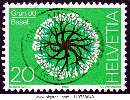 Postage Stamp Switzerland 1980 Tree In Bloom