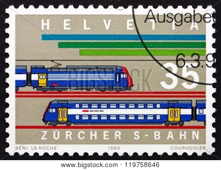 Postage Stamp Switzerland 1990 Locomotives