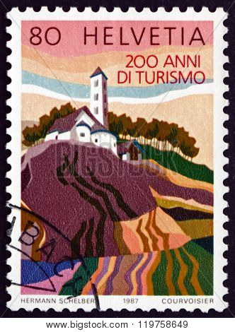 Postage Stamp Switzerland 1987 Church Of San Carlo, Blenio Valle