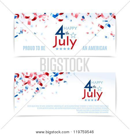 4Th Of July, American Independence Day Banners. Vector Illustration, Eps10.