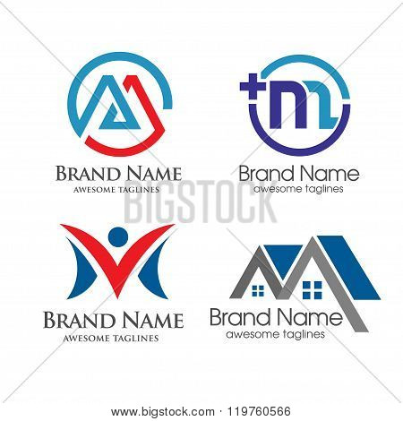 Letter M Set of Icons and Logo Elements