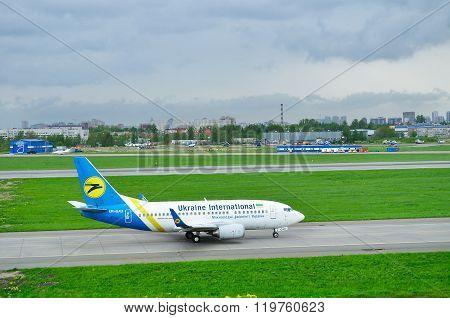 Ukraine International Airlines Boeing 737-500 Airplane In Pulkovo International Airport