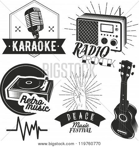 Vector set of karaoke and music labels in vintage style. Guitar, microphone, gramophone, radio recei