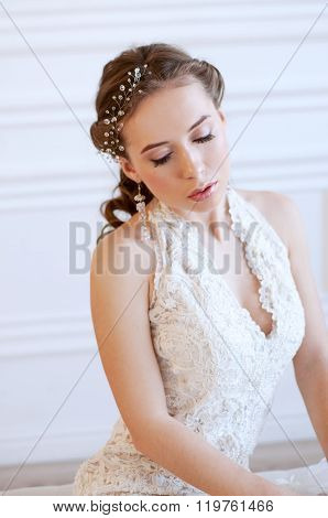 Princess Style Bride With Crystal Headpiece
