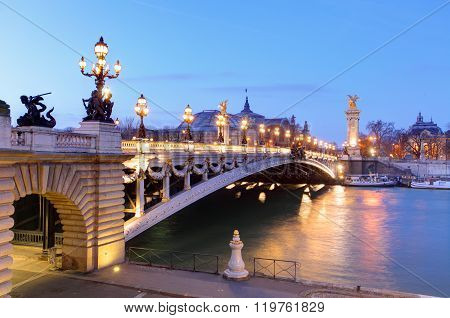 Pont Alexandre Iii And Grand Palais At Dusk, Paris.