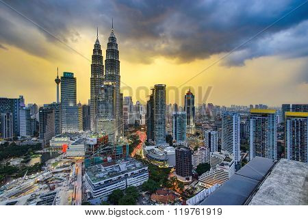 Beautiful dramatic scenery of Kuala Lumpur city skyline
