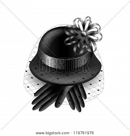 Womans black hat with veil isolated vector