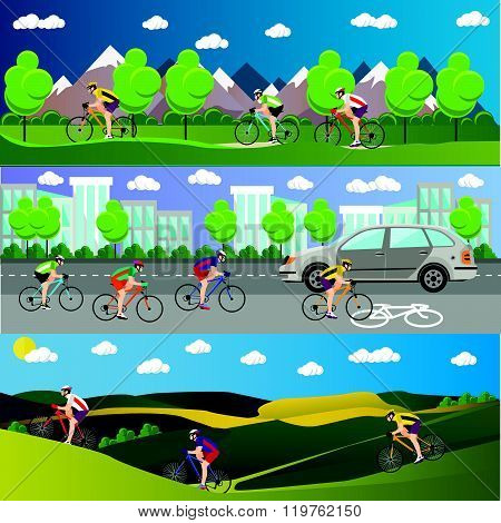 Group of bicycle riders on bikes in mountains, city road and park. Biking sport banners. Vector illu